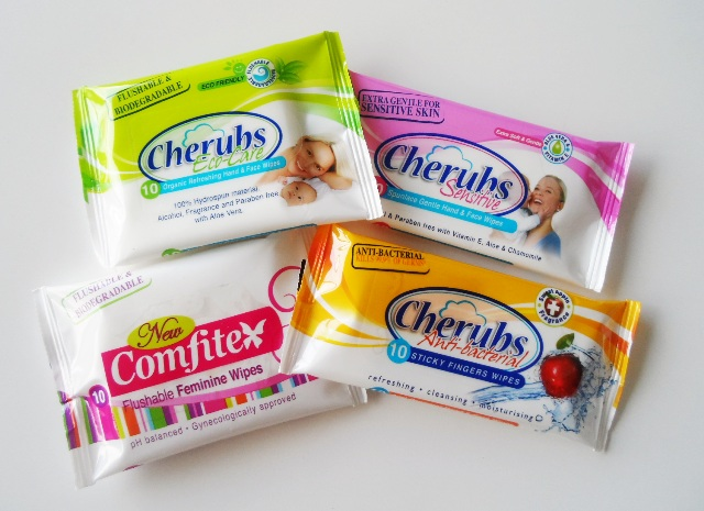 Cherubs wet wipes. Each pack fits into the palm of your hand.