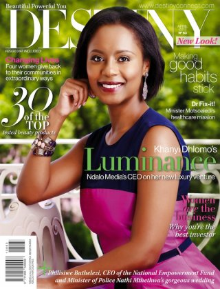 Khanyi on the cover of this month's Destiny mag.