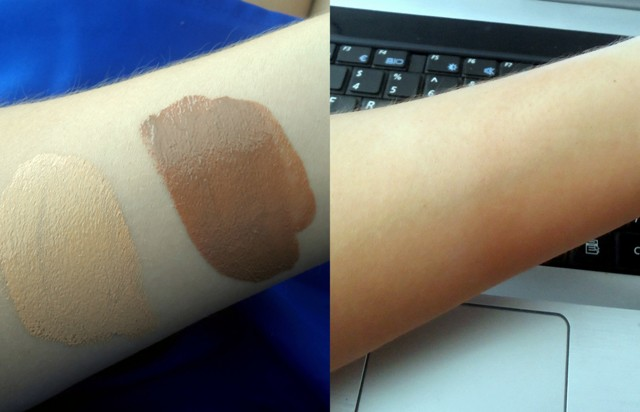 On the left are the shades when you first apply them and on the right they've been blended in.