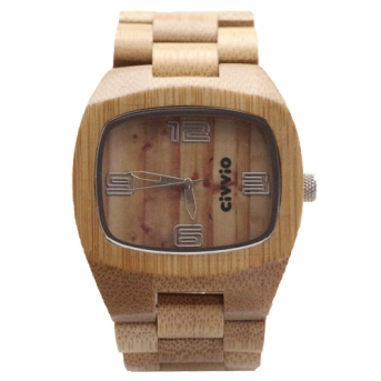Civvio carbonised bamboo square watch