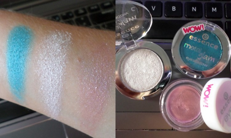 From left to right; Metal Glam shadows in N'Ice Frosting (silver white) and Jewel Up The Ocean (turquoise) plus the Eye Sorbet in Iluminating Raspberry.