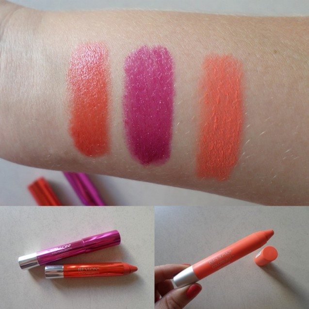The colours on my arm from left to right are A and B (both Lacquer Balms) and B (a Matte Balm).