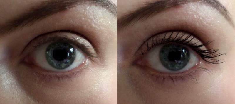 Naked eye on the left, Lancome Hypnose volumising mascara on the right.