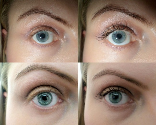 Naked eye on the left and Volume Million So Couture mascara on the right. (Flash shots up top, no flash down below.)