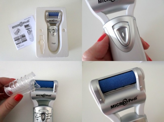The Micro Pedi comes with a cleaning brush and protective roller cover.