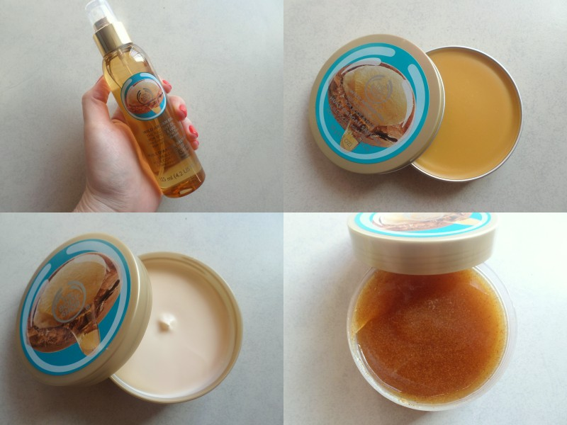 Going clockwise you're looking at the oil, the solid body oil, the scrub and body butter.