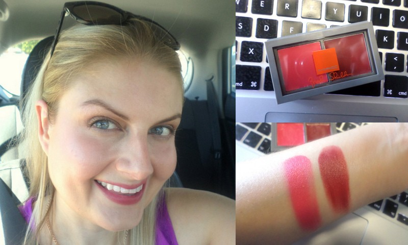 Wearing the pinky-coral on my cheeks and the plum one on my lips.