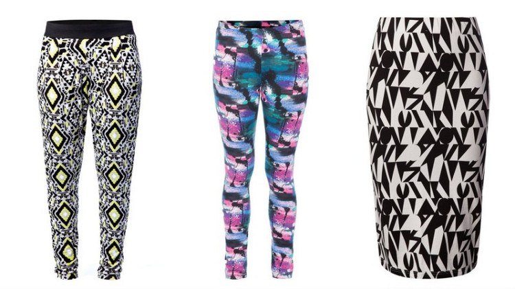 Aztec print joggers R99,99, printed leggings R69,99 and geo print bodycon skirt R69,99.