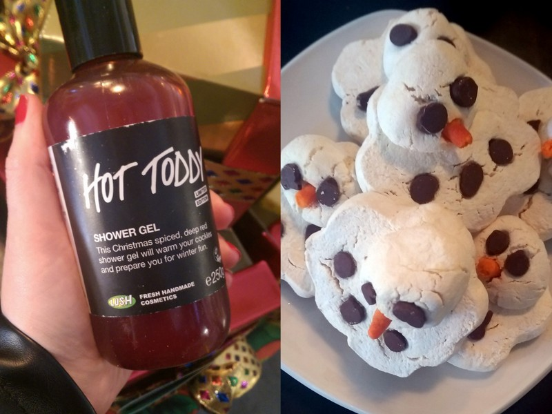Hot Toddy shower gel to the left and Melting Snowman to the right.