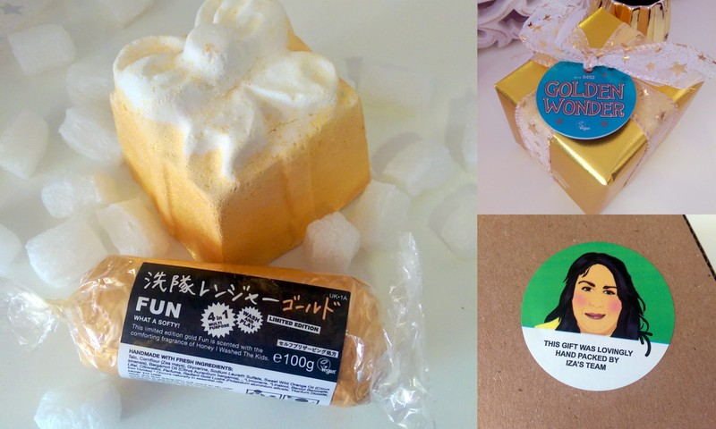 Golden Wonder bath bomb and 'Fun' a multi-tasking play-do-like cleanser that smells like Honey I Washed the Kids soap, another Lush favourite of mine.