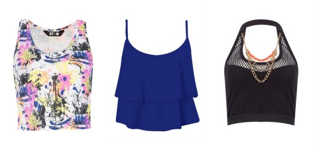 Printed crop top R49,99, ruffle top R50 and embellished crop top (price TBA).