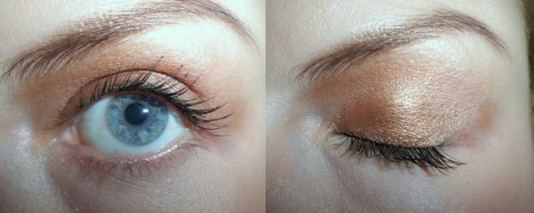 Walking on Eggshells (dark colour on my lid and the 'mid' shade in my crease) and mascara