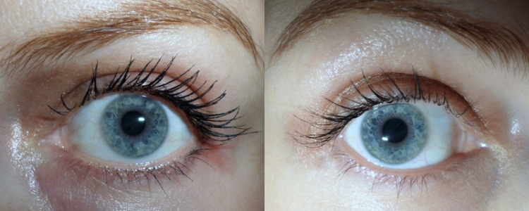 Primer and two coats of mascara on the left and just two coats of mascara (no primer) on the right.