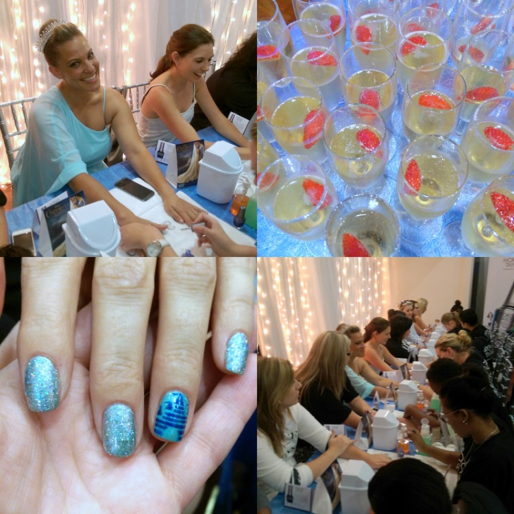 Clockwise: Radio's Tammy B went full Monty with a tiara; sparkly champers; mani station a-go-go and Debbie from Sparkle's Party at the Palace mani with Disney palace statement nail. (OMG!)
