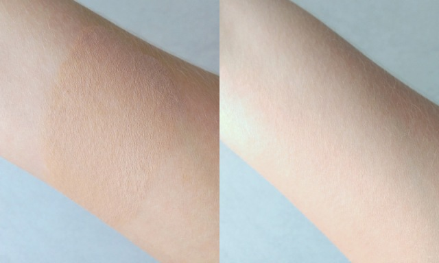 This shade is called Wheat. Swatched on the left and blended on the right.
