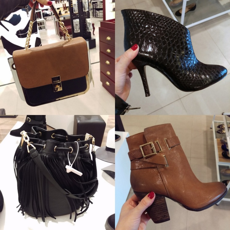Clockwise: Dune sakkie; the sexiest Vince Camuto boot in the world; more Vince Camuto awesome that I hope to find in black and a River Island tassel satchel.