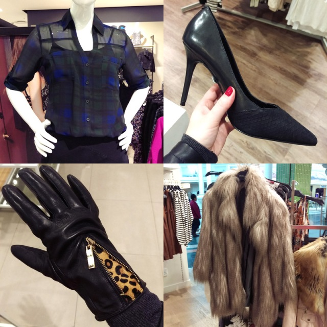 Clockwise: Express shirt that Gia and I couldn't decide if it awesome or vile, pumps, River Island coat and the hottest gloves ever from Dune.