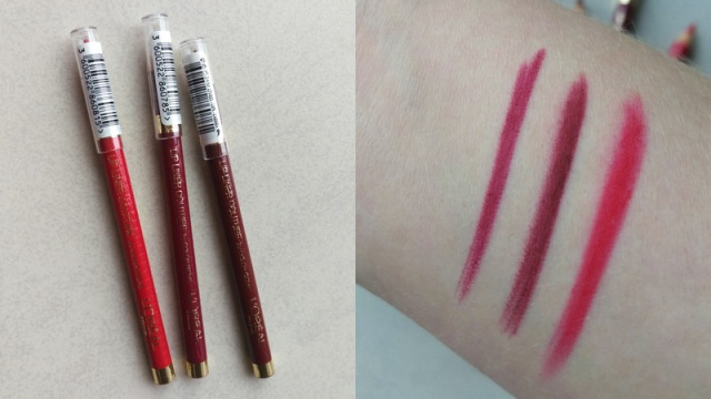 Swatches from left to right are of