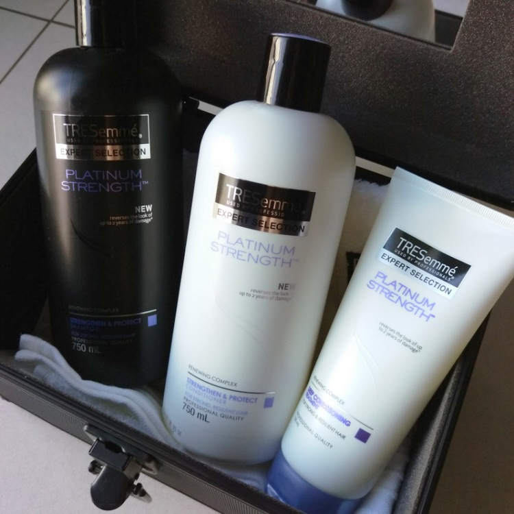 TRESemme Platinum Strength shampoo, conditioner and treatment