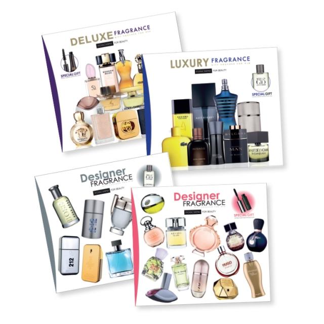 Caption: Designer fragrance gift box for her R665, Deluxe fragrance gift box for her R1 050, Designer fragrance gift box for him R790 and Prestige fragrance gift box for him R995.