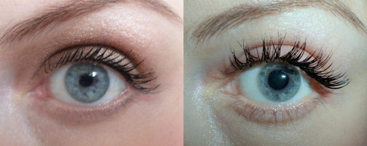 Mascara on the left, lash extensions on the right.