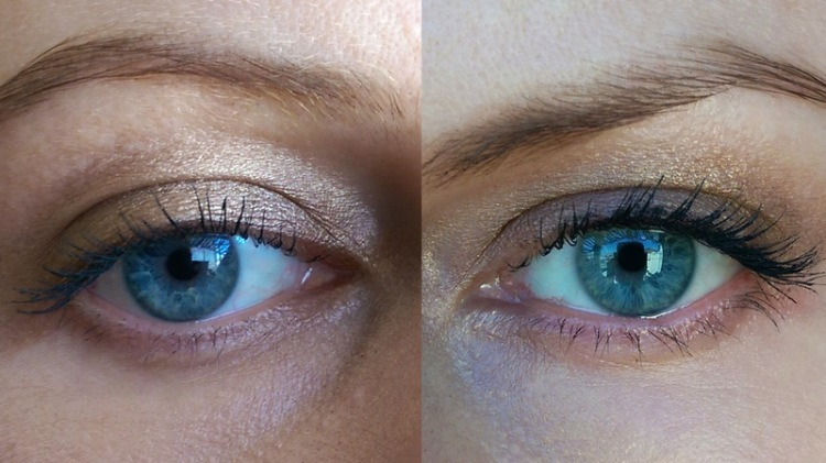 Two coats of Lancome Hypnose Volume-a-Porter on the left, one coat of Hypnose Volume-a-Porter over Benefit's primer on the right.