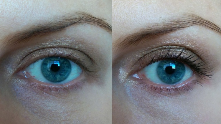 My lashes with zero mascara on the left and one coat of Benefit's primer on the right.