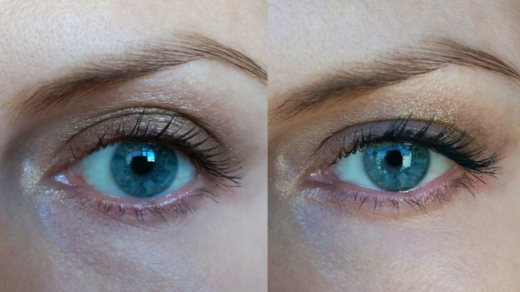 Just Benefit's primer on the left and the primer plus a coat of Lancome's Hypnose on the right.