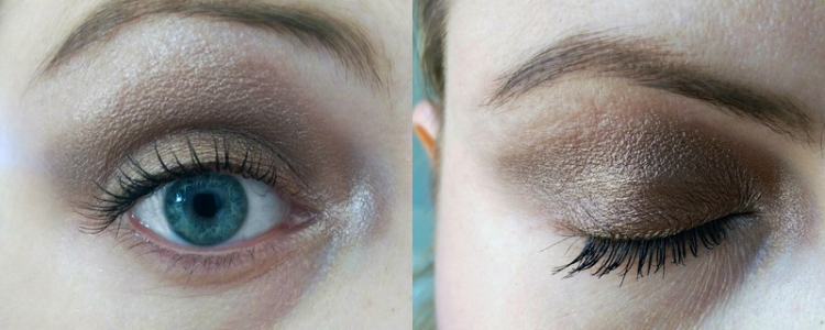 Another super easy look - Toasted all over my lid with Hustle in the crease and drawn out a bit and then back in again to cover a bit of the outer corner of the lid. While the shades look super mauve-y in the pan they appear VERY neutral, almost taupe, when they're on. I then dab a dot of Vigin in the inner corner of my eye to brighten it up.