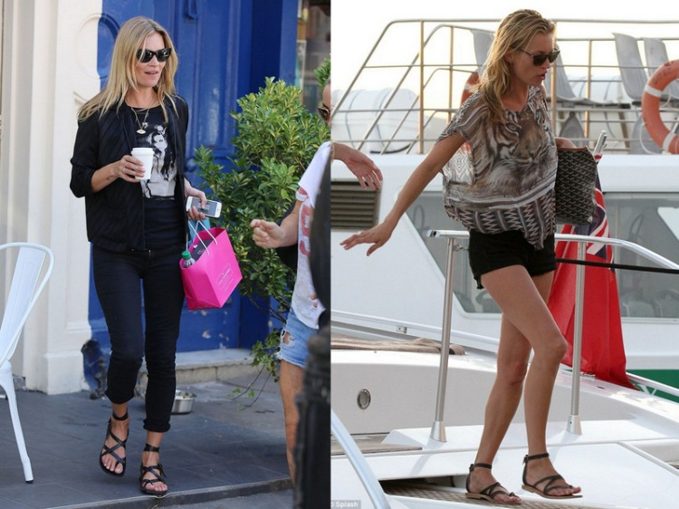 Miss Moss rocking two of her seemingly ten million pairs of K Jacques sandals.