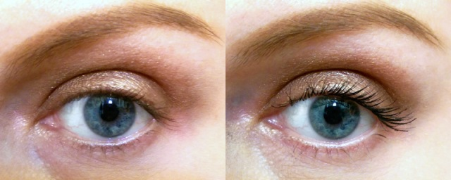 My non-existant lashes on the left and ONE coat of Givenchy on the right.