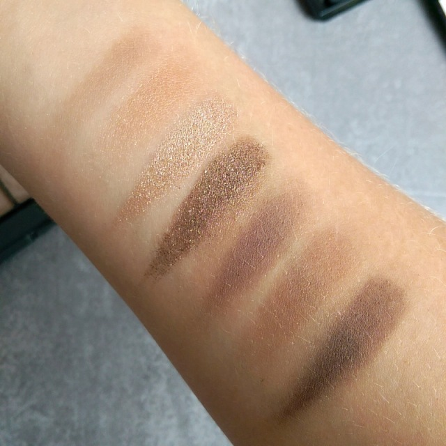 You'll see the palest shade has zero pigment pay off. The first one that's visible is second from the left.