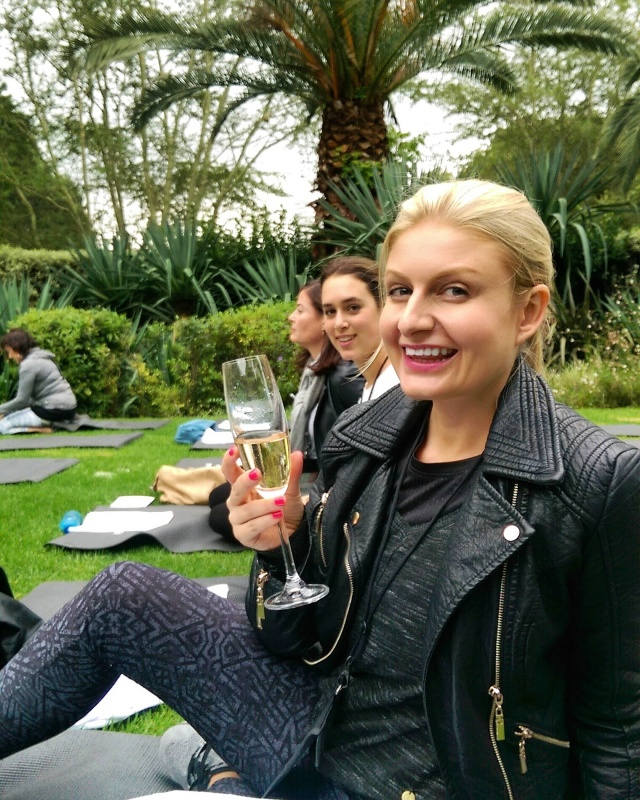 Doing yoga at the L'Oreal launch in Jozi. (It was super cold. I need the bubbles to help keep me warm.)